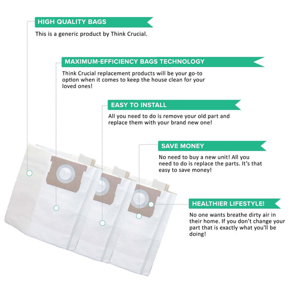 Replacement Bags, Fits Vacmaster 5-6 Gallon Wet & Dry Vacs, Compatible with Part VDBS