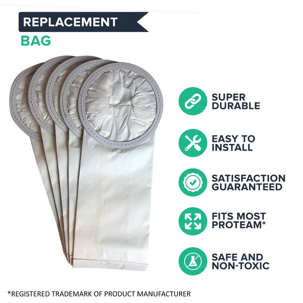 Crucial Vacuum Replacement Vac Bags Part # 100431, 450227 - Compatible With ProTeam 6 QT Bags Fit 6-Quart Backpacks Vac Bags - Compact Disposable Bag - Home, Vacs, Models (5 Pack)