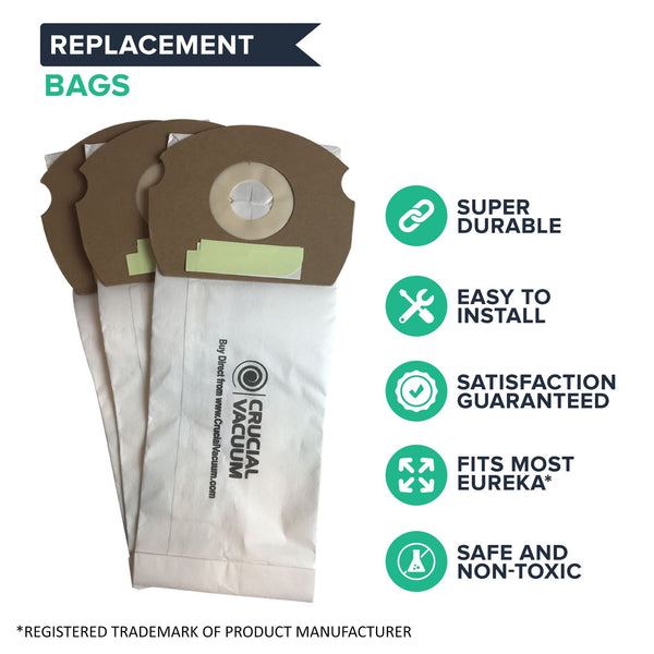 3pk Replacement Bags, Fits Eureka AS AirSpeed, Compatible with Part 66655, 68155-6, 68155, 67726 & 84404
