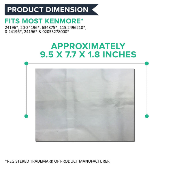 Crucial Vacuum Replacement Type B Cloth Vac Bags Part # 85003, 24196, 634875 115.2496210 - Compatible With Kenmore Bag and Oreck Canister Vacuums - Compact, Disposable Style For Vacuums