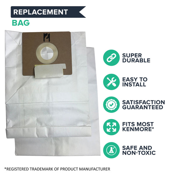 9pk Replacement B Vacuum Bags, Fits Kenmore, Compatible with Part 634875 & 24196