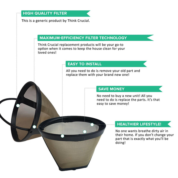 Replacement Gold Tone Cone Coffee Filter, Fits Krups KM720D50, KT720D50, 253, 466, 467, 458, 144