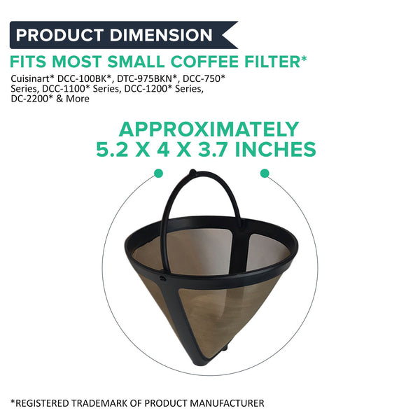 2pk Replacement Gold Tone Coffee Filters, Fits Cuisinart, Washable & Reusable, Compatible with Part GTF4