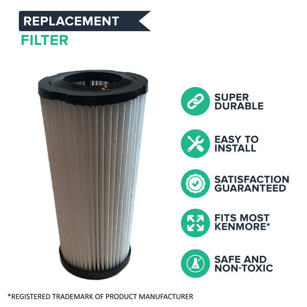 Crucial Vacuum Air Filter Replacement Part # 618683, 02080011000, 02039000000 - Compatible With Kenmore Vacs - Kenmore DCF5 Filter Fits Quick Clean For Home Use - Washable, Reuseable (1 Pack)