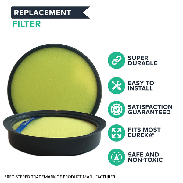 Crucial Vacuum Dust Cup Replacements Part # DCF-25, DCF25 - Compatible With Eureka HEPA Style Filters - Models ASM1105A, ASM1115A, AS3001A, AS3030A, AS3012A, AS3401A, AS1104A, AS3104A