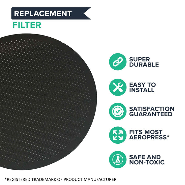 Think Crucial 2 Replacements for Aerobie Aeropress Stainless Steel Coffee Filter, Washable & Reusable