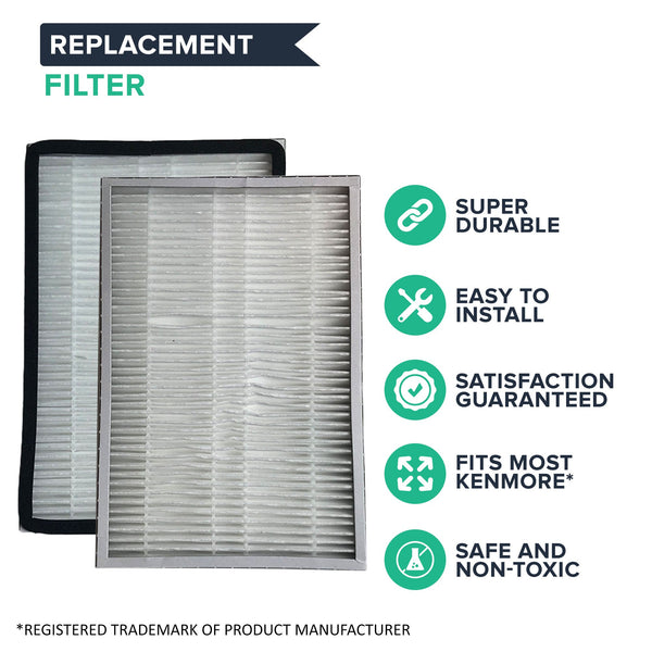 2pk Replacement HEPA Style Exhaust Filters, Fits Kenmore EF1, Compatible with Part 20-86889, 86889, & 40324