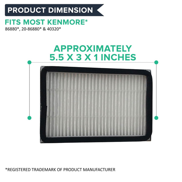 4pk Replacement HEPA Style Exhaust Filters, Fits Kenmore EF2, Compatible with Part 86880, 40320 & MC-V194H