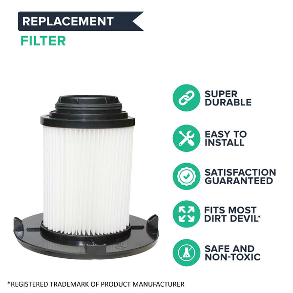2pk Replacement F16 HEPA Style Filters & Foams, Fits Dirt Devil, Compatible with Part 1-JW1100-000 & 2-JW1000-000