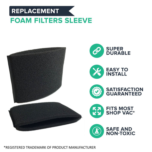 Crucial Vacuum Replacement Foam Filter Compatible with Shop-Vac Part # 9058500 9058562, Fits Vacuum Models Shop Vac Wet and Dry Vacuums, Hold 5 Gallons or More Ideal For Home & Office