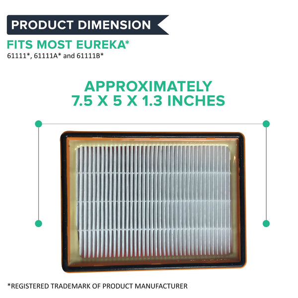 Crucial Vacuum Air Filter Replacement - Compatible With Eureka Part # 61111, 61111A, 61111B, 61111C, 61495 - Models 4870, 4870AT, 4870BT, 4870DT, 4870DT-2, 4870F, 4870F-1, 4870F-2, 4870G (1 Pack)