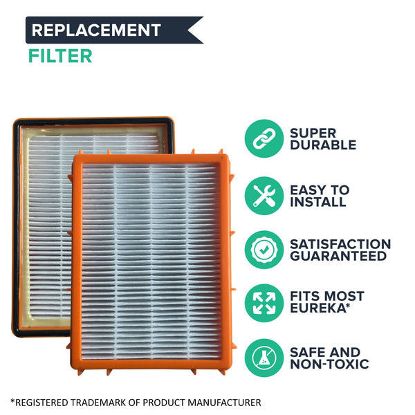 2pk Replacement HEPA Style Filters, Fits Eureka HF2, Compatible with Part 61111 & 61495