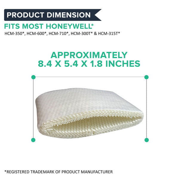 3pk Replacement Humidifier Filters, Fits Honeywell HCM-600, HCM-710, HCM-3007 & HCM-315T, Compatible with Part HAC-504AW