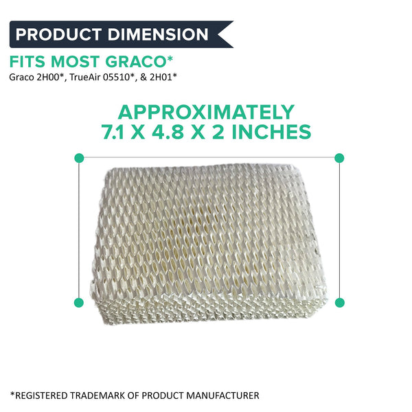 Crucial Air Replacement for Graco 1.5 Gallon Humidifier Filter - Compatible With Part # 2H01, Fits 2H00 & TrueAir 05510