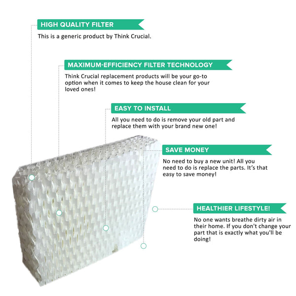 2pk Replacement Wick Filters, Fits ReliOn RCM832, RCM 832N, & DH-830 Humidifiers, Compatible with Part WF813