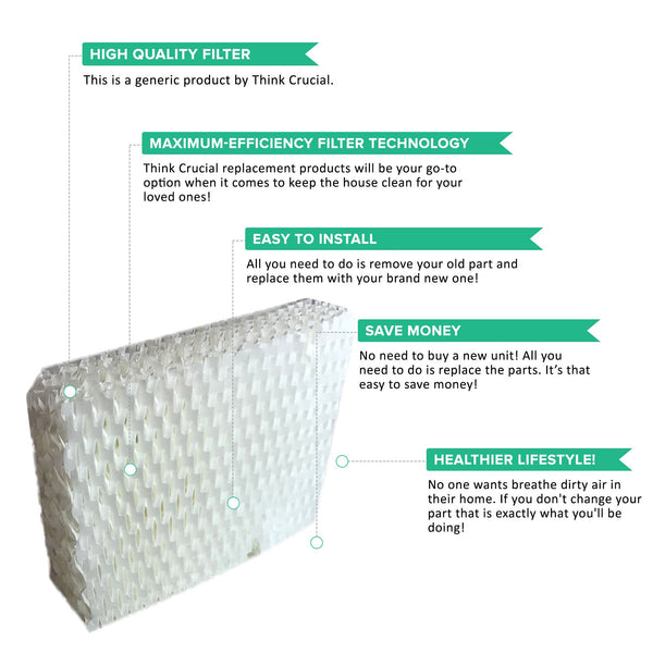 12pk Replacement Wick Filters, Fits ReliOn RCM832, RCM 832N, & DH-830 Humidifiers, Compatible with Part WF813