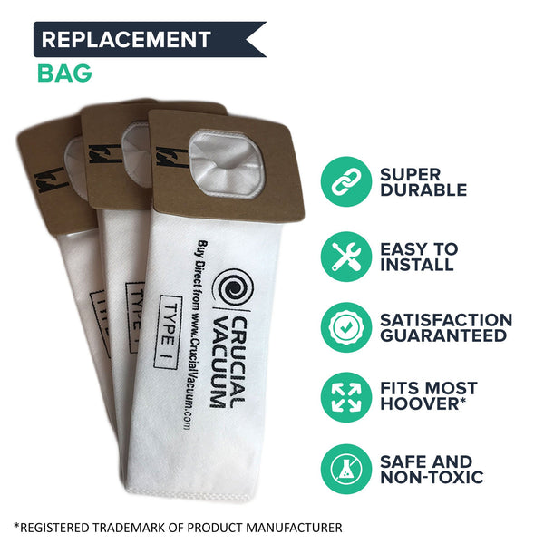 Crucial Vacuum Replacement Vac Bags - Compatible With Hoover Part # 20-40321, 2040321, 40321, 20-81002, Ultracare Kenmore 610461 Sears Part # 8175084 Envirocare Technologies Part # 909 (3 Pack)