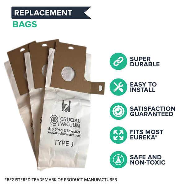 9pk Replacement J Bags, Fits Eureka, Compatible with Part 61515C-6