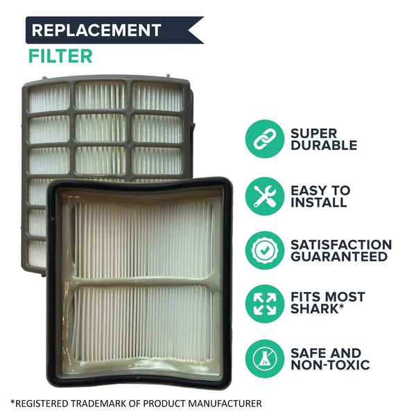 Crucial Vacuum Filter Replacement Parts - Compatible with Shark Part # XHF80 - Fits Navigator Air Filters Models NV70, NV71, NV80, NV90, NV95, NVC80C, UV420 - HEPA Style Filters- Bulk Pack (1 Pack)