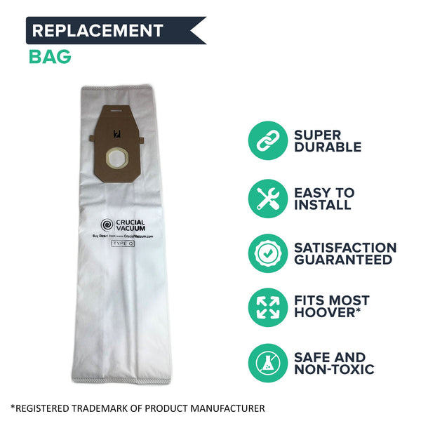 Crucial Vacuum Replacement Vac Bags - Compatible With Hoover Part # AH10000, UH30010COM - Fits Hoover Platinum UH30010COM Upright Vacuums - Use Type Q Compact Disposable Bag For Home, Vacs (3 Pack)
