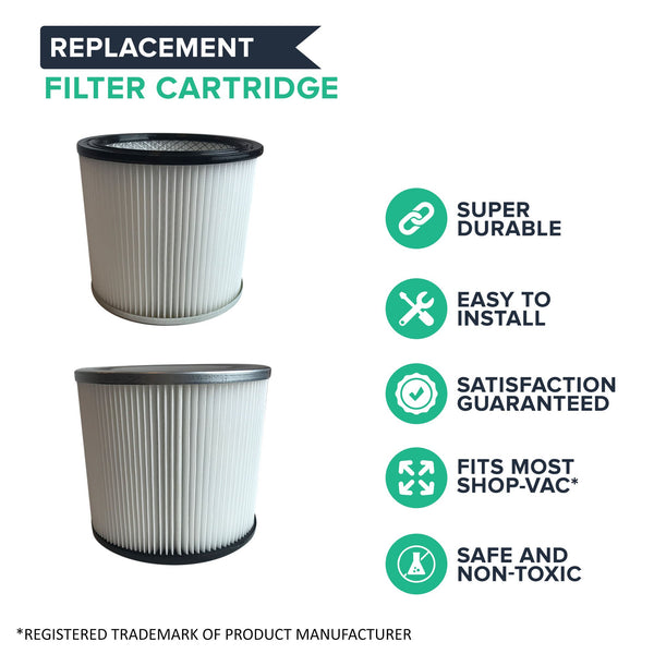 2pk Replacement Filter Cartridges, Fits Shop-Vac Wet & Dry Vacs, Compatible with Part 90304, 9039800 & 88-2340-02