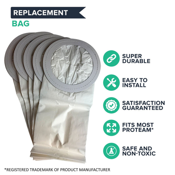 50pk Replacement 10 Quart Vacuum Bags, Fits ProTeam Super CoachVac & Aggressor II, Compatible with Part 100331