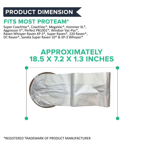 Replacement 10 Quart Vacuum Bags, Fits ProTeam Super CoachVac & Aggressor II, Compatible with Part 100331