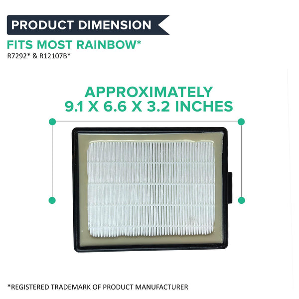 Crucial Vacuum Air Filter Replacement Compatible With Rainbow - Fits E2-Series Parts # R7292, R12107B - E, E2 Series - HEPA-Style Filters, Washable and Reusable For Home, Office Use