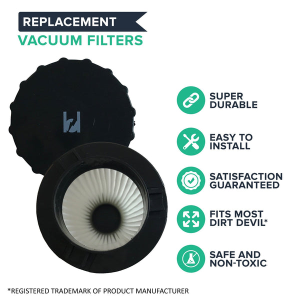 Crucial Vacuum Air Filter Replacement - Compatible with Dirt Devil Part # 3SFA11500X & 3-F5A115-00X, F2 HEPA Style Filter Models, Vacs - Fits Dynamite Quick Vac, Jaguar Power Reach, Vac
