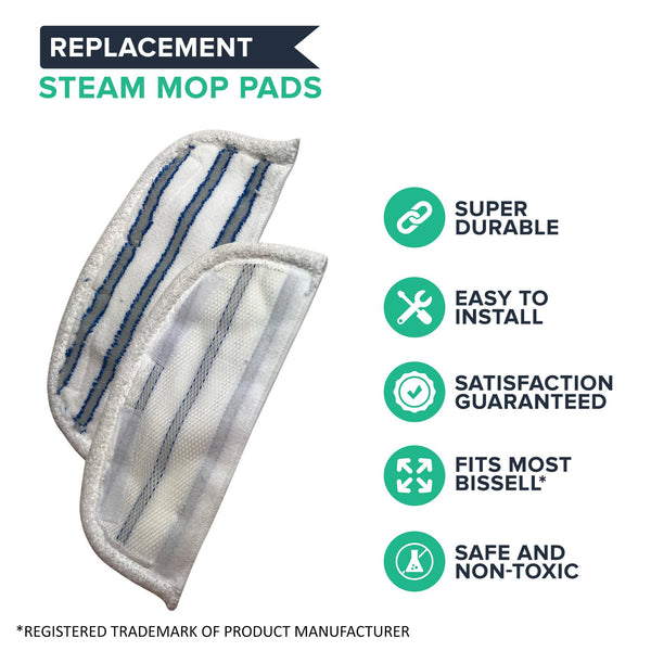 4pk Replacement Steam Mop Pads, Fits Bissell Steam & Sweep Series 46B4, Washable, Part 75F5 & 203-2200