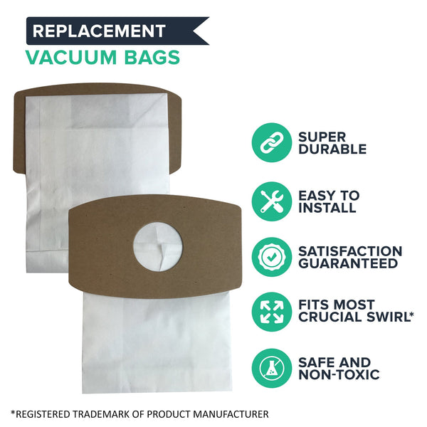 6pk Crucial Swirl Vacuum Bags, Fits Simplicity Type S SS-6 & Riccar SupraQuik RSQ-6