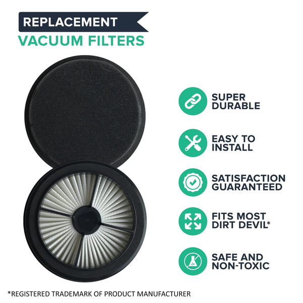 Crucial Vacuum Replacement Vacuum Filters-Compatible with Dirt Devil Style 44 - Allergen Pre-Motor with Foam Air Filter Parts-Pair Part 304019001,3-04019-001-Models UD20015, UD20020, UD20025