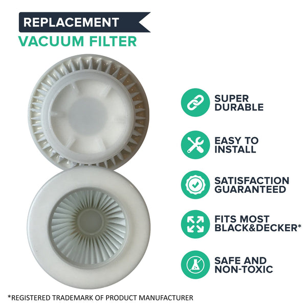 Think Crucial Replacement Vacuum Filters Compatible with Black and Decker Pivot Vac Filter Part - Washable, Reusable with Vacuums Parts PVF100, 514723900, Fits Model PHV1800, PHV1800CB