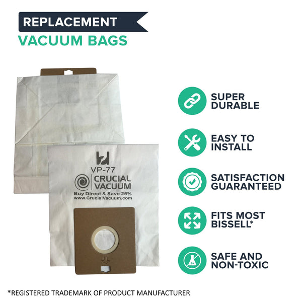 Think Crucial Replacement Vacuum Bags - Compatible with Bissell DigiPro Vacuums Bag Part - Fits VP-77 Power Partner and Canister Model 6900, 67E2, 6594, 6594F - For Parts #32115