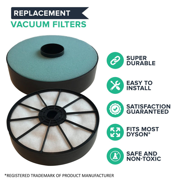 Crucial Vacuum Air Filter Replacement - Compatible With Dyson Pre-Filters - Part 904979-02 - Models Dyson DC07 DC-07 - Use As Extension, Replacement For Vacs, Accessories - Washable, Reusable