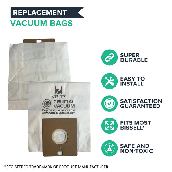20pk Replacement Vacuum Bags, Fits Bissell DigiPro Canister 6900, Compatible with Part 32115