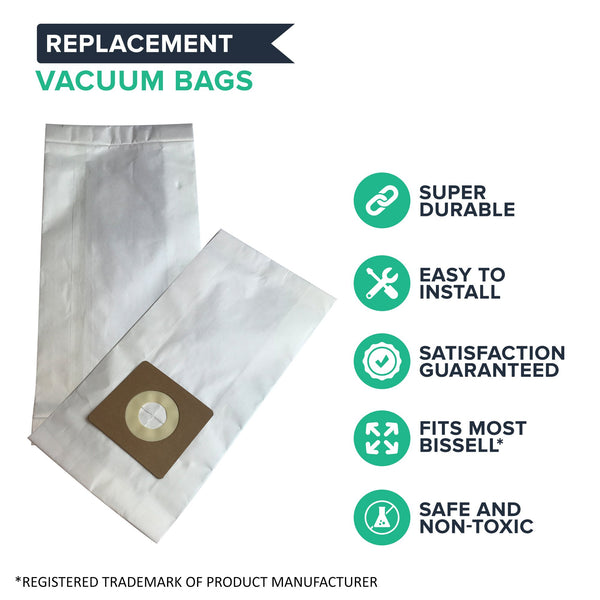 6pk Replacement Paper Vacuum Bags, Fits Bissell Style 1, 4 & 7, Compatible with Part 30861