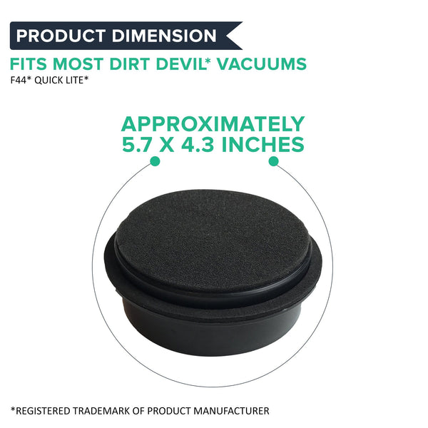 Crucial Vacuum Replacement Vacuum Filters-Compatible with Dirt Devil Style 44 - Allergen Pre-Motor with Foam Air Filter Parts-Pair Part 304019001,3-04019-001-Models UD20015, UD20020, UD20025 (1 Pack)