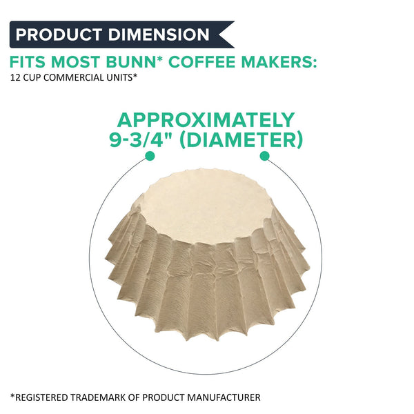 100PK Compatible Replacement Unbleached Paper Coffee Filters Bunn 12 Cup Commercial Coffee Brewers, Compatible with M5002 & 20115.0000