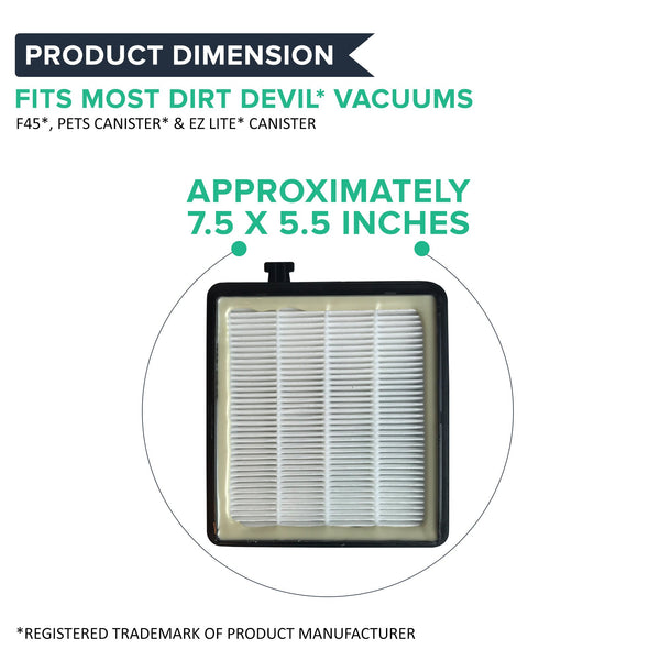 4pk Replacement F45 Canister Filters, Fits Dirt Devil, Compatible with Part 2KQ0107000