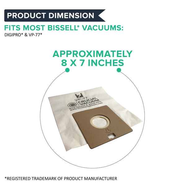10pk Replacement Vacuum Bags, Fits Bissell DigiPro Canister, Compatible with Part 32115