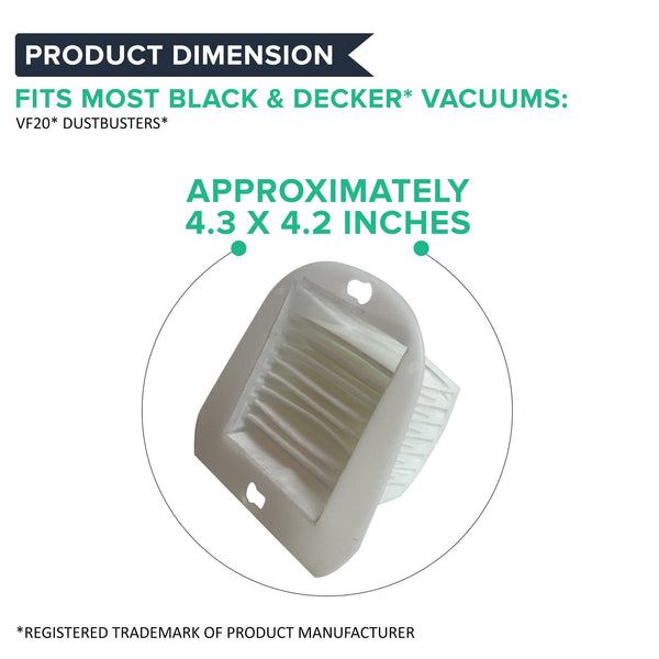 2pk Replacement VF20 Filter & Cover Kit, Fits Black & Decker Dustbuster, Compatible with Part 499739-00