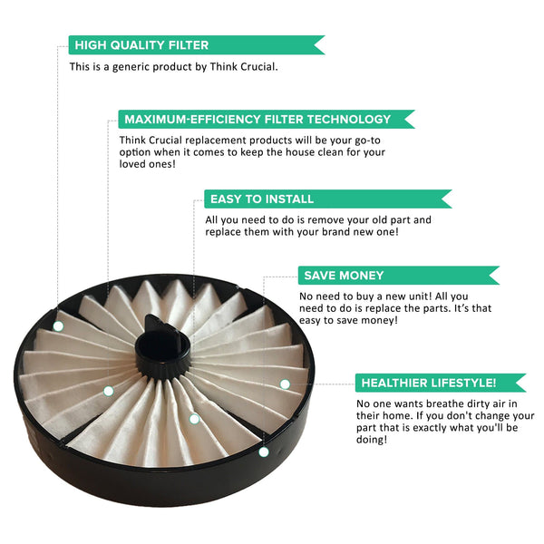 Replacement HEPA Style Exhaust Filter, Fits Hoover Windtunnel Bagless, Compatible with Part 59134050