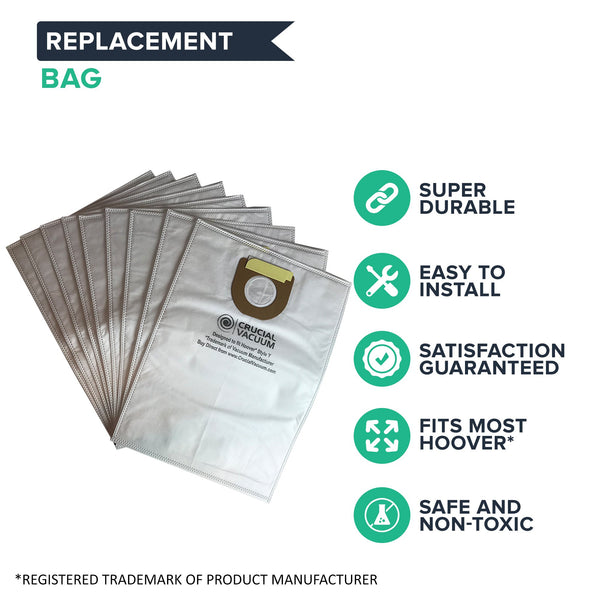 Crucial Vacuum Replacement Vac Bags - Compatible With Hoover Part # 4010100Y, 4010801Y, 43655082 - Hoover Type Y Cloth Bags Fit Windtunnel Upright Vacs - Use Bag, Filter For Home