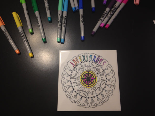 Easy DIY Project: Color A One Word Mandala Tile With Sharpies