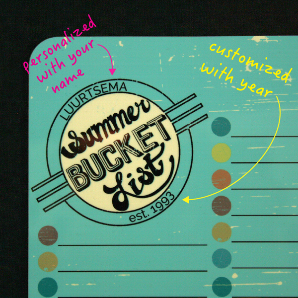 Personalized Summer Bucket List Dry Erase Board