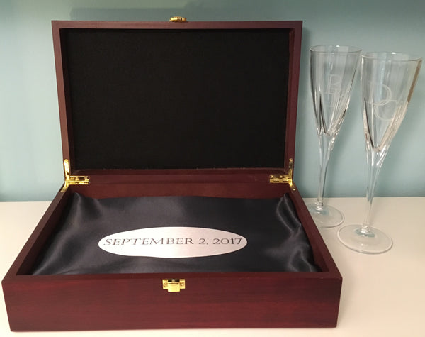 Personalized Wedding Champaign Flutes in Memory Box