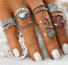 14 Piece Vintage Silver Ring Set