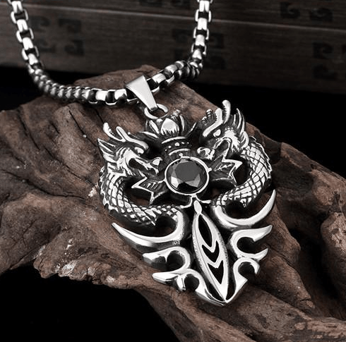 "Stainless Steel ""Double Dragon"" Necklace"