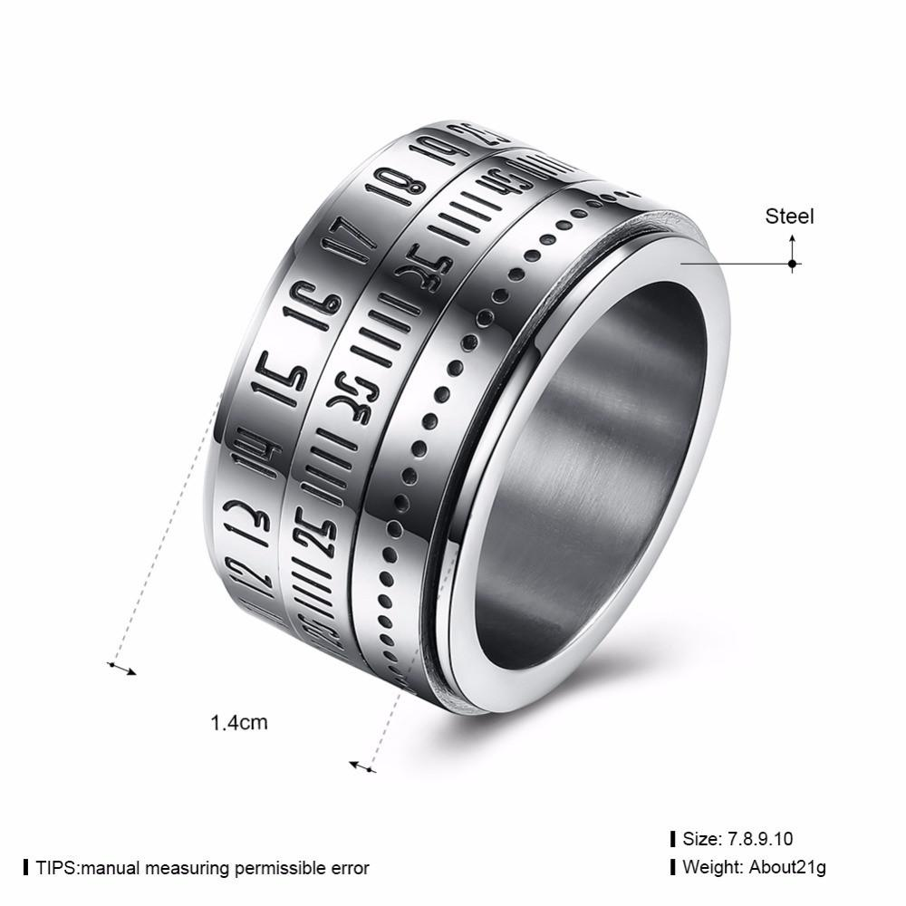 Wide Band Roman Number Spinner Ring